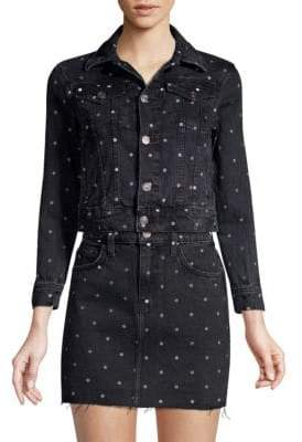 Current/Elliott The Baby Polka Dot Denim Trucker Jacket