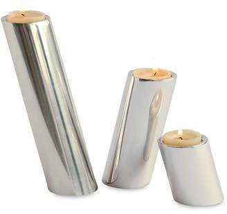 Global Views Set of 3 Slanted Candleholders - Nickel