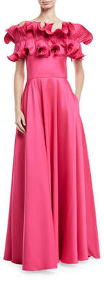 Badgley Mischka Off-the-Shoulder Ruffle A-Line Gown