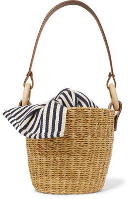 Muun Seau Straw And Striped Cotton-canvas Bucket Bag - Neutral