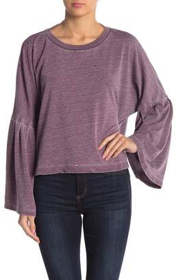 On The Road Daniella Heathered Bell Sleeve Pullover