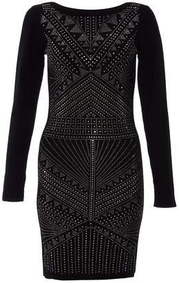 Quiz Black Light Knit Long Sleeve Embellished Dress