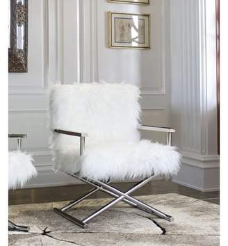 Marelana Shari Contemporary Accent Chair in Polished Stainless Steel Finish with White Faux Fur