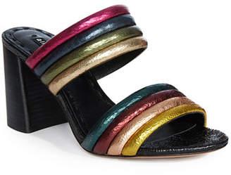 Alice + Olivia Lori Metallic Colorblock Slide Sandals