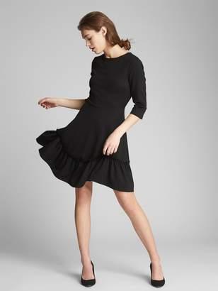 Gap Long Sleeve Ruffle-Hem Dress in Ponte