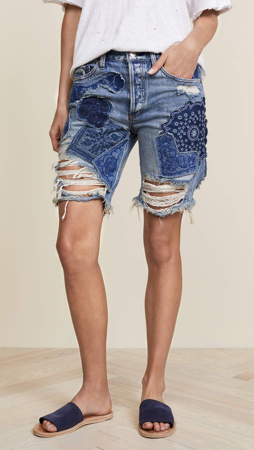 Free People Heart Breaker Patched & Embroidered Shorts