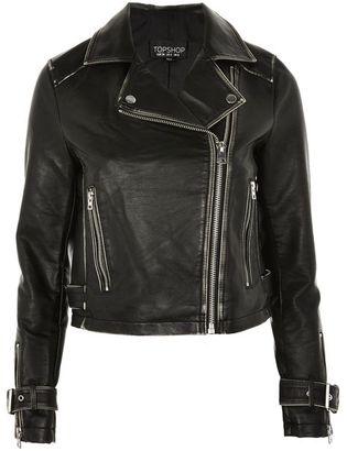 Topshop Washed pu biker jacket