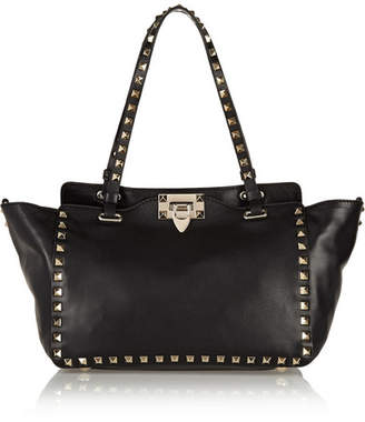 Valentino Garavani The Rockstud Small Leather Trapeze Bag - Black