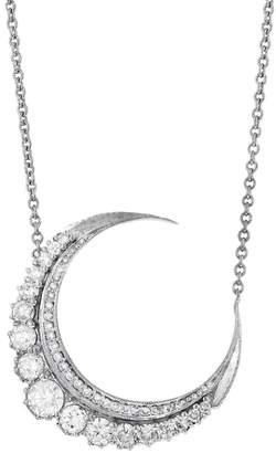 Jacquie Aiche Large Diamond Crescent Moon Necklace - White Gold