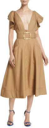 Oscar de la Renta Deep-V Ruffle-Sleeve Belted Fit-and-Flare Cotton Twill Dress