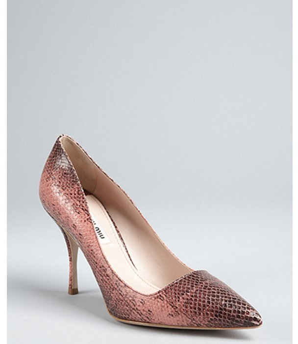Miu camellia pink snakeskin pointed toe pumps