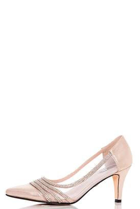 Quiz Gold Shimmer Low Heel Court Shoes