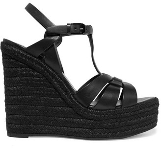 Saint Laurent - Tribute Leather Espadrille Wedge Sandals - Black $695 thestylecure.com