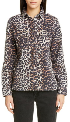 Ganni Leopard Print Denim Jacket
