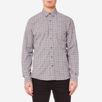 Michael Kors Men's Slim Fit Flannel Open Check BD Long Sleeve Shirt