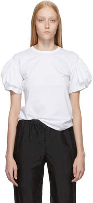 Comme des Garcons White Ruffle Sleeve T-Shirt