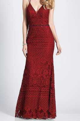 Dave and Johnny Burgundy Lace Slip Gown with Open Back