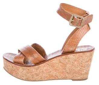 Tory Burch Embossed Platform Wedges