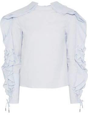 Antonio Berardi Lace-Up Ruffled Cotton-Blend Poplin Top