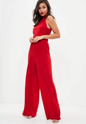 Missguided Red High Neck Wide Leg Romper