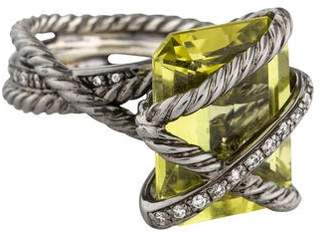 David Yurman Citrine & Diamond Cable Wrap Cocktail Ring