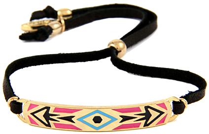 Ettika Pink Aztec Tribal Diamond Pattern Leather Bracelet