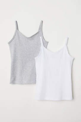 H&M 2-pack Lace-trimmed Tank Tops - White