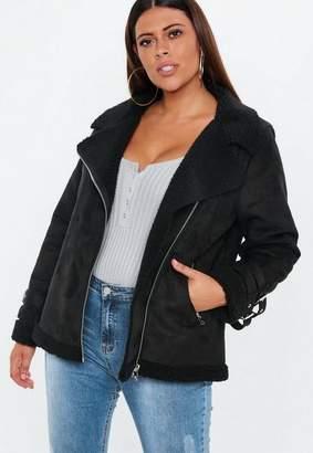 Missguided Plus Size Black Borg Lined Aviator Jacket