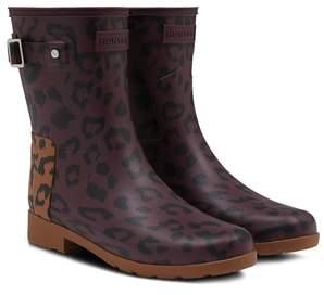 Hunter Leopard Print Refined Short Rain Boot