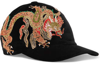 Gucci Embroidered Cotton-velvet Baseball Cap - Black