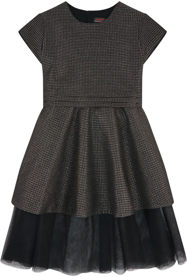 Catimini Jacquard knit dress with a tulle jupon