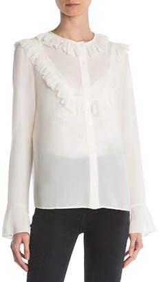 The Kooples Ruffled Long Sleeve Shirt