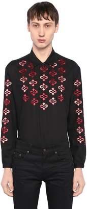Saint Laurent Embroidered Light Wool Twill Shirt