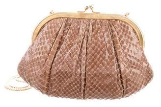 Judith Leiber Snakeskin Frame Evening Bag