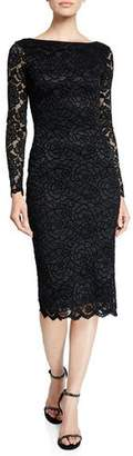 Dress the Population Emery Long-Sleeve Velvet Lace Midi Cocktail Dress