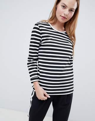 Only Anya 3/4 Sleeve Striped Sweatshirt