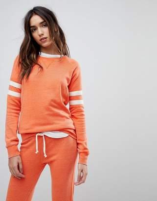 Ocean Drive Burnout Stripe Sweat Top In Orange