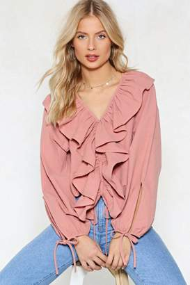 Nasty Gal Pink Positive Ruffle Top