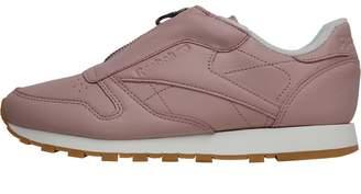 Reebok Classics Womens Leather Zip Trainers Shell Pink Chalk Silver Metallic 360b45d0b