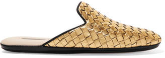 Bottega Veneta Metallic Intrecciato Leather Slippers - Gold