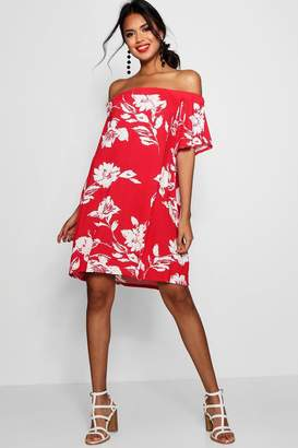boohoo Off One Shoulder Floral Shift Dress