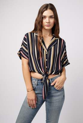 Azalea Stripe Button Down Tie Top