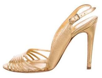 Sergio Rossi Metallic Round-Toe Sandals