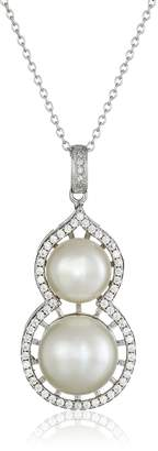 Bella Pearl Double Pearl Cubic Zirconia Pendant Necklace