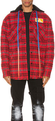 Off-White Off White Flannel Jacket in Red | FWRD