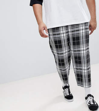 Reclaimed Vintage Inspired PLUS Relaxed Cropped PANTS In Check