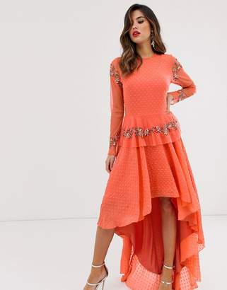 Lace & Beads embroidered high low dress in coral