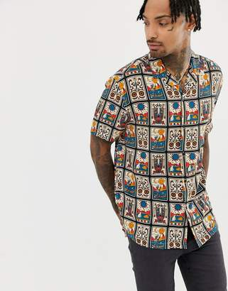 Asos DESIGN oversized mexican style printed shirt with revere collar