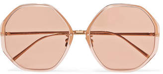 Linda Farrow Round-frame Acetate And Gold-tone Sunglasses - Pink