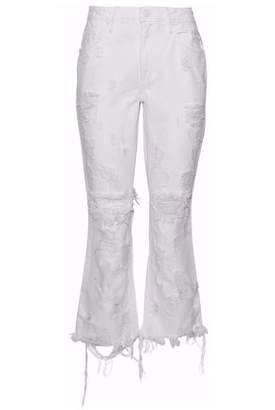 Alexander Wang Grind Scratch Cropped Distressed Mid-Rise Bootcut Jeans